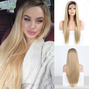 Charisma Glueless Wig Straight Hair Ombre Blonde Lace Front Wig Short Brown Roots Full Density Synthetic Wigs For Black Women(China)