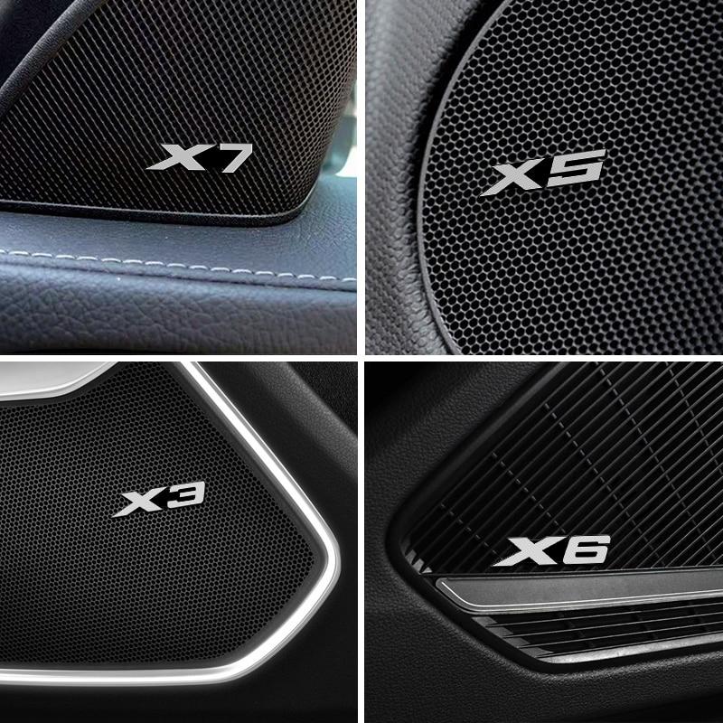 4PCS-Car styling fit Para BMW E87 E90 E91 E92 E46 E60 E61 E70 G30 X1 X3 X5 X6 X7 Speaker Áudio Emblema etiqueta Do Emblema