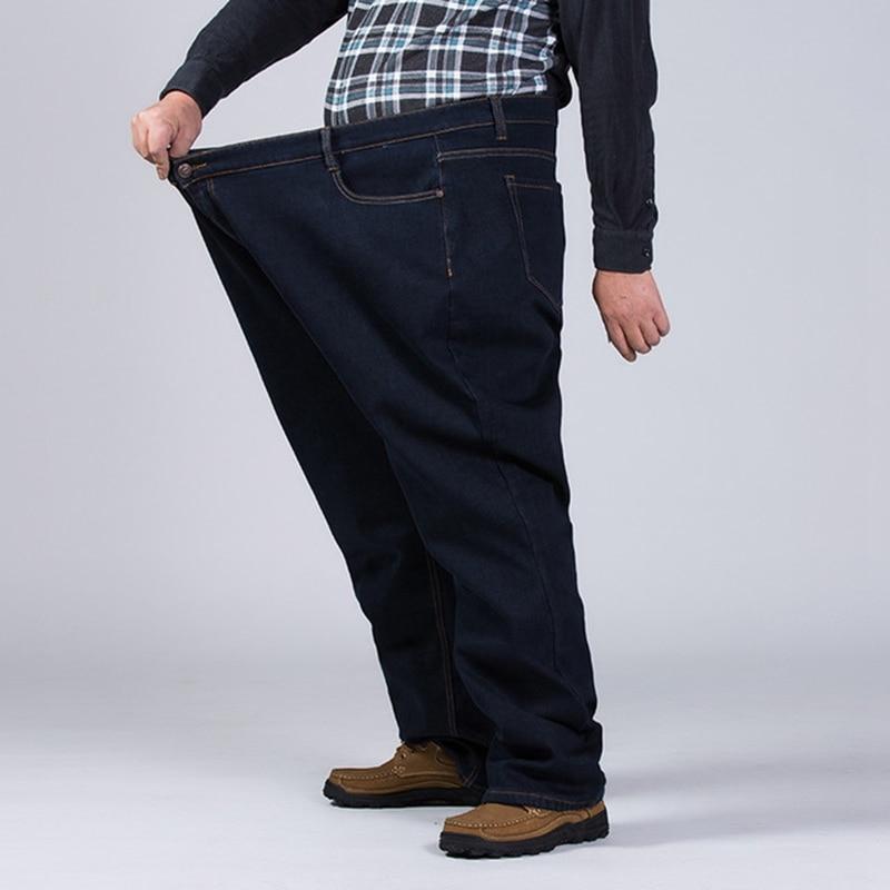 Image 4 - Winter plus size plus velvet thick jeans men fat people loose  increase big size warm pants 52 50 48 high waist male large sizeJeans