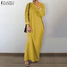 Dubai Abaya Turkey Hijab Sundress Muslim Dress ZANZEA Women Vintage Long Sleeve Solid Maxi Long Dress Casual Kaftan Vestido Robe