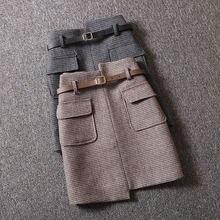 Осенняя и зимняя одежда новая Универсальная клетчатая юбка Женская