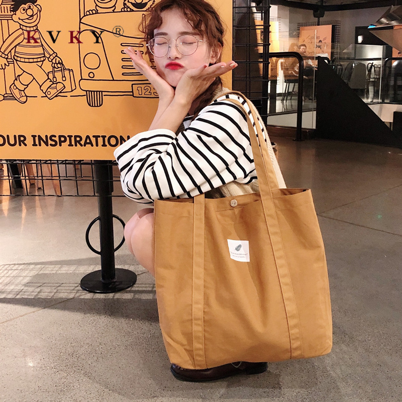 Women Shopping Bags Grocery Simple Print Letter Fashion Large Capacity Casual Wild Canvas Cotton Ecobag Totes Bolsa Reutilizable