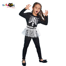 Eraspooky Skeleton Jumpsuit Girl's Skull Tutu Skirt Cosplay Halloween costume for kids Day of the dead Carnival Party Outfits(China)