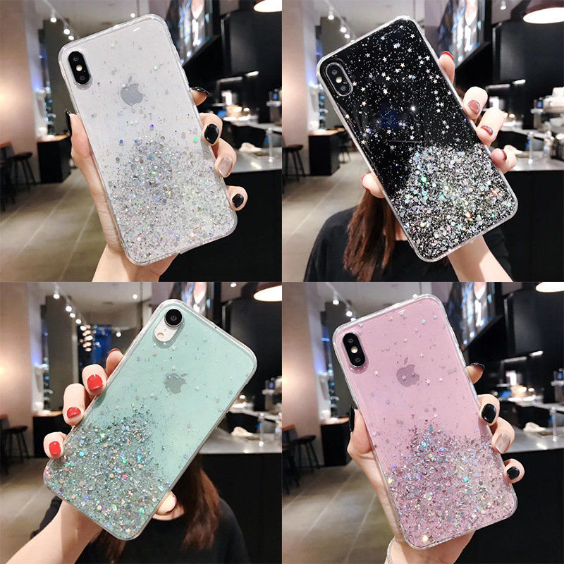 Bling Glitter Cases For iPhone 11 Pro Max Case SE 2020 Cover For iPhone 11 Pro XR X XS Max 6s 6 7 8 Plus Case Soft Clear Cover
