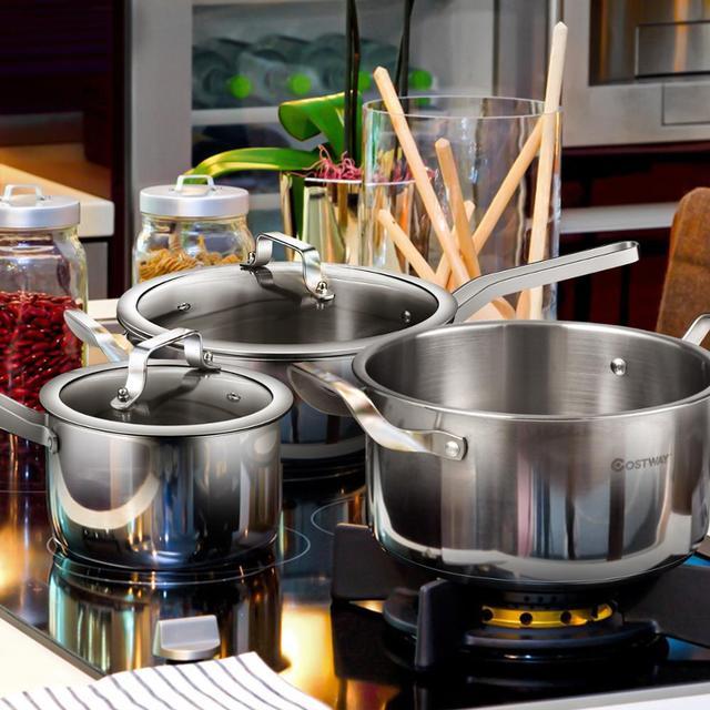 6 Piece Stainless Steel Cookware Set Nonstick Pot And Pans w/ Glass Lids Silver KC52001 3