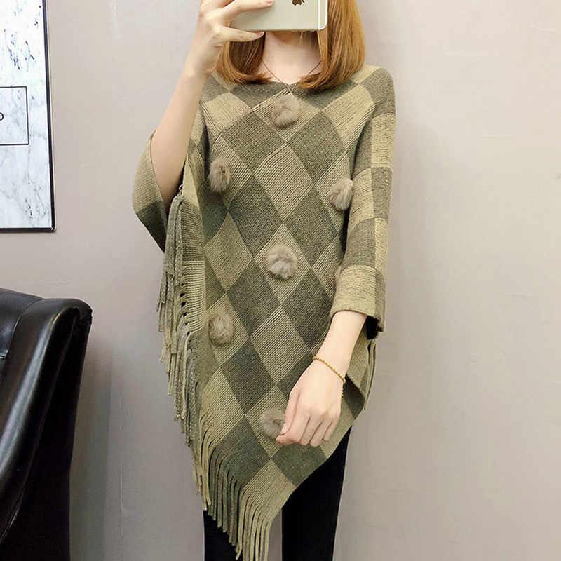 Dış şal 2020 sonbahar ve kış yeni kore versiyonu saçaklı yarasa gömlek düzensiz ceket bluz büyük boy pelerin