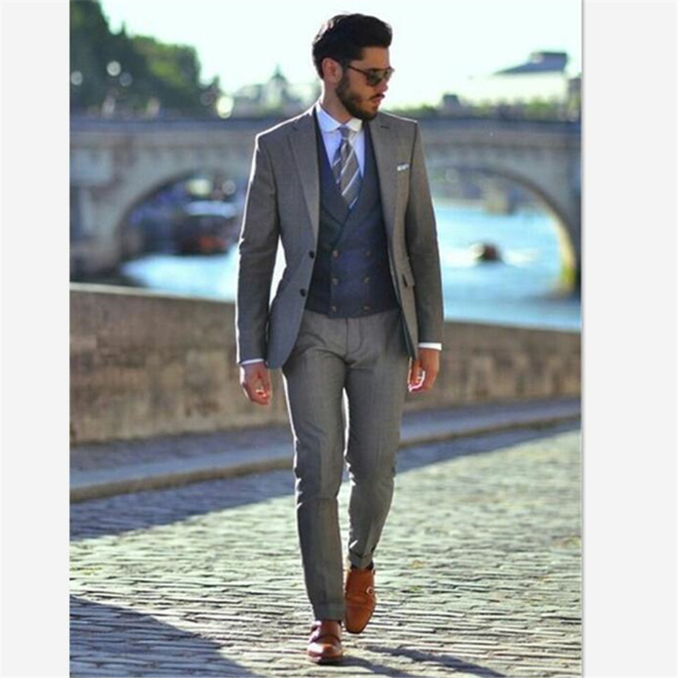 Veiai Men Suit Latest Coat Pant Designs Gray Double Breasted Wedding Custom Blazer Formal Groom Tuxedo Slim Fit 3 Piece Ternos