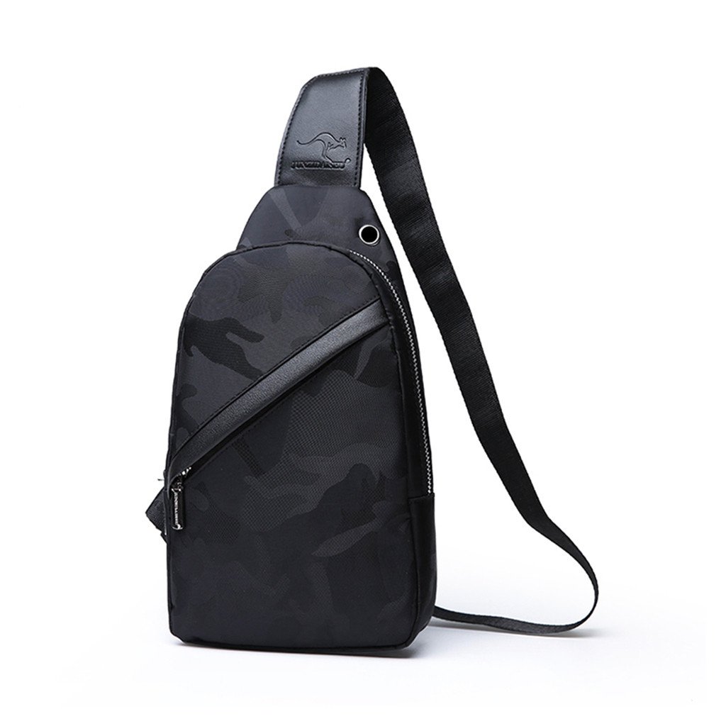 New Canvas Men's Shoulder Bag Backpack Multi-purpose Color Solid Outdoor Sports Chest Small Crossbody 827