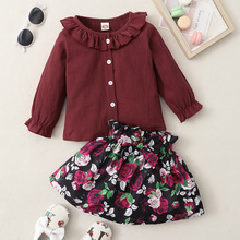 Baby Girl Clothes Set Ruffle Blouse Shirts Bow Floral Print Skirts Outfits Girls Clothing Sets Cute Infant Clothes Matching Suit