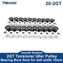 POWGE 10pcs 2M 2GT 20 denti sincronizzatore puleggia foro 5mm nero con cuscinetto per GT2 larghezza cinghia aperta 10MM 20 denti ruota 20 T