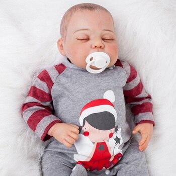 Ojos cerrados de 50 cm, alta calidad, algodón, cuerpo suave, silicona, muñecas Reborn, bebés nacidos vivos, Brinquedos, pintura detallada, bebé reborn
