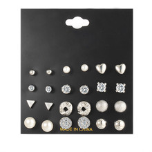 24pc/set Silver Stud Earrings Set Crystal imitation Pearl for Women Bride Brincos Jewelry Gift