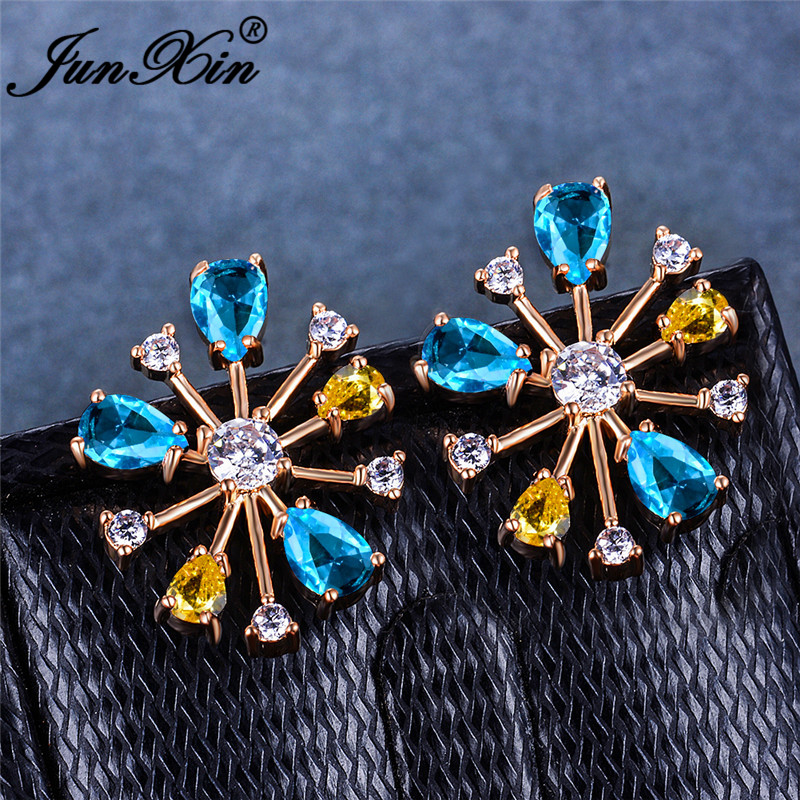 Cute Rainbow Fireworks Stud Earrings For Women White Gold Rose Gold Color Pear Blue White Yellow Crystal Wedding Earring Jewelry