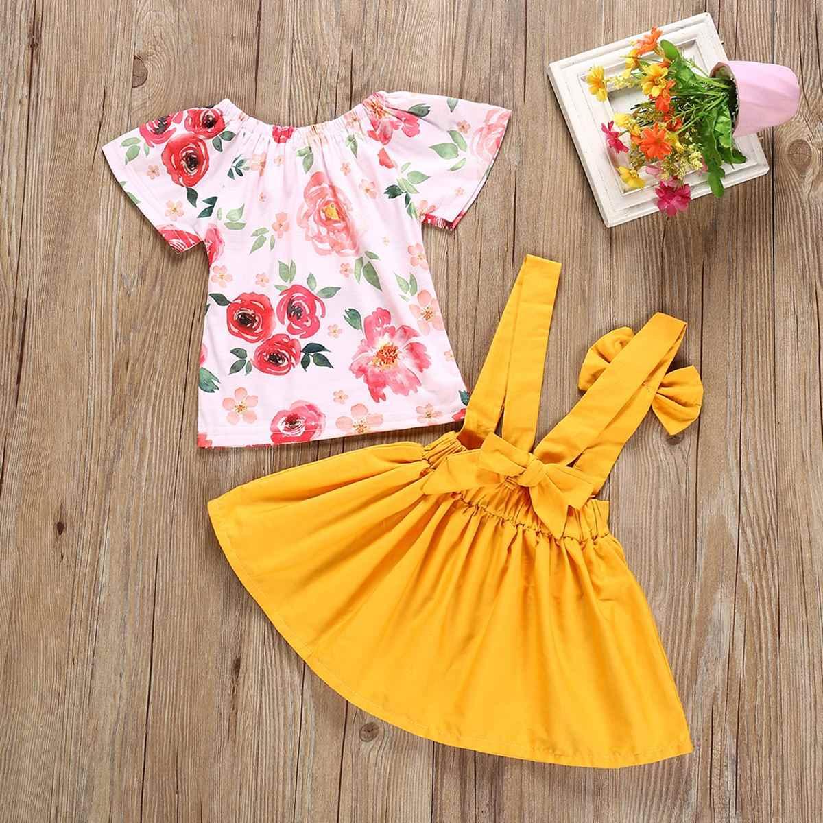 Для детей 0-24 месяца, новинка 2 шт./компл. очаровательные детские наряды для девочек, комплект одежды с цветочным рисунком, футболки + застежка-бабочка юбка, детская одежда, одежда для девочек