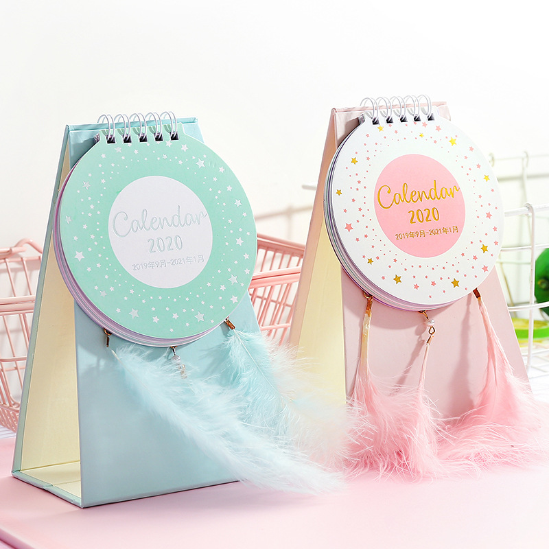 2020 Creative Feather Desk Calendar Cute Memo Planner Plan To Do List Daily Note Desktop Calendars Weekly Office School Supply