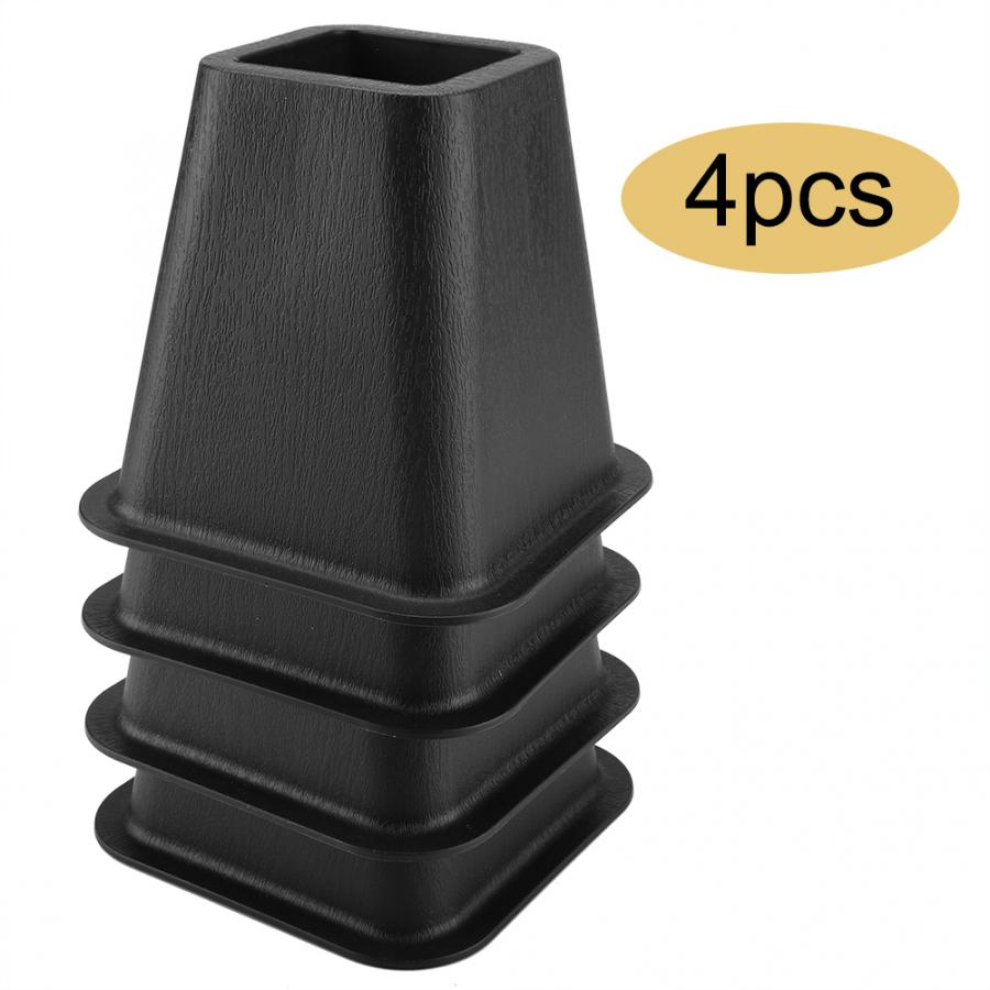 Black Furniture Raisers Set of 4 For Bed Chair Desk Table Bed Risers Desk Lifter image