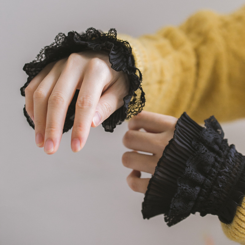 Women's Sweater Coat With Fungus Chiffon Fake Sleeves Sweater Korean Version Of Multi-layer Black Lace Lolita Wrist Sleeve Autum