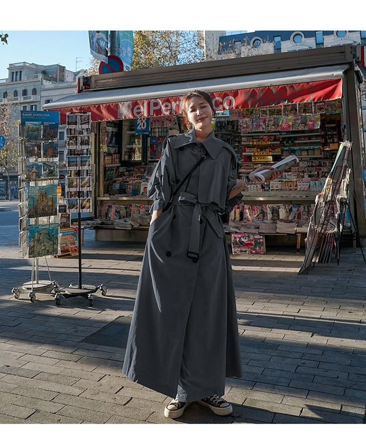 Hdda5e4ad272f458ea5d8f079148d7d47j Korean Style Loose Oversized X-Long Women's Trench Coat Double-Breasted Belted Lady Cloak Windbreaker Spring Fall Outerwear Grey