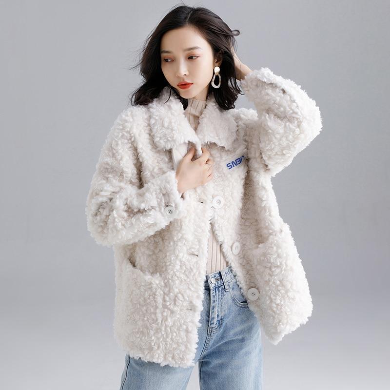 Real Fur Coat Women Winter Coat Women Clothes 2020 100% Wool Jacket Sheep Shearing Short Parka Real Fur Jacket LMN1957 YY2366