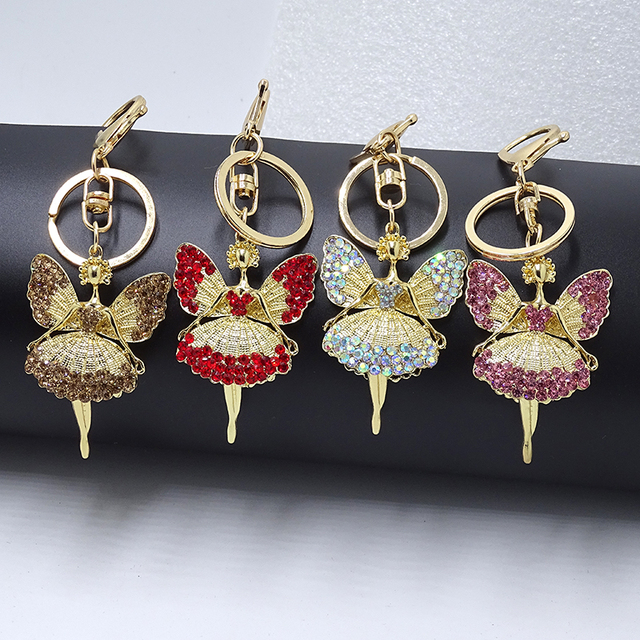 Creative Keychain Alloy Rhinestone Female Angel Keychain Handbag Pendant Car Keychain Woman Jewelry Man Jewelry Belt Buckle 2