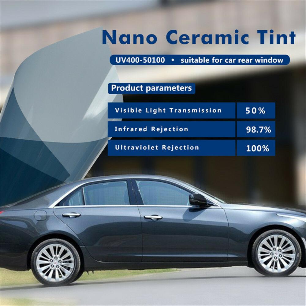 152x152cm 2 pièces combinaison film de fenêtre de voiture 50% VLT haute UV nano céramique teinte solaire film auto-adhésif 60