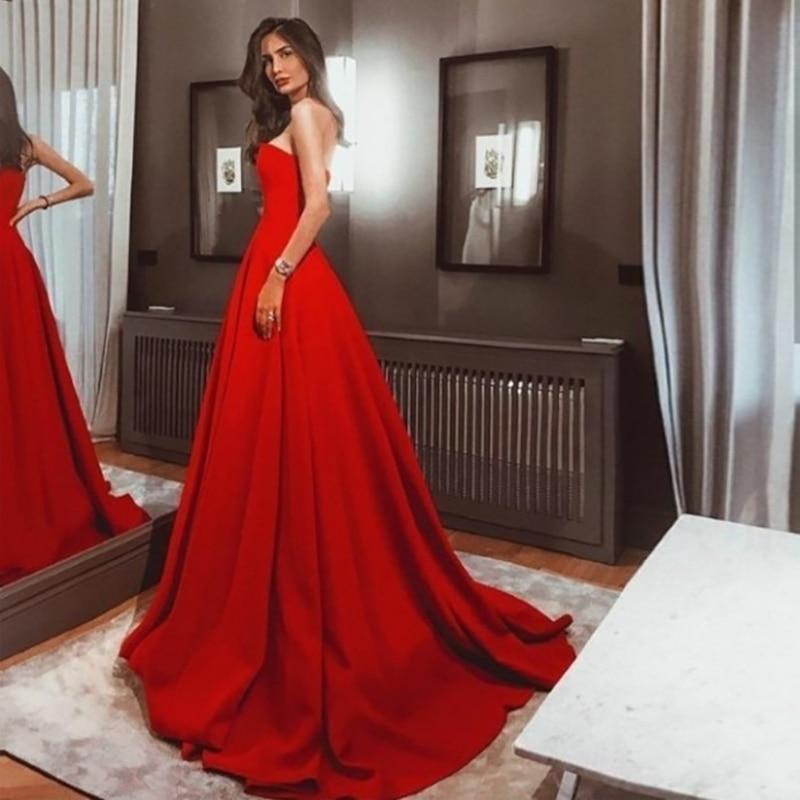 Verngo A-line Wedding Dress Vintage Red Satin Gowns Elegant Long Bride