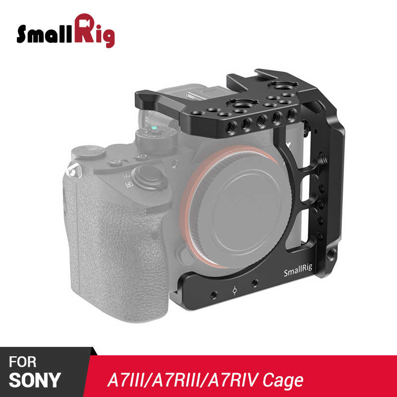 SmallRig A7III Camera Cage Half Cage for Sony A7 III A7R III A7R IV  W/ Multipul Thread Holes for Microphone  DIY Options 2629