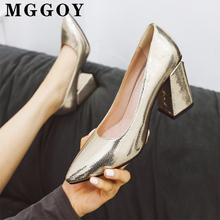 Golden Square Heel Pumps Women Shoes Pointed Toe Fashion High Heels Silver Large Size Women's Spring 2020 New Woman