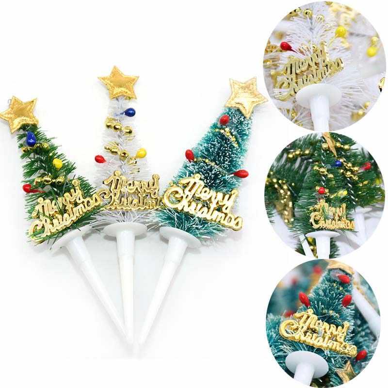 5/10 pièces joyeux noël gâteau Topper Mini arbre de noël Cupcake Toppers nouvel an noël fête ornements enfants anniversaire gâteau décor