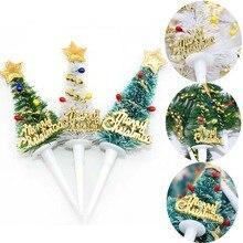 5/10pcs החג שמח עוגת צילינדר מיני עץ חג המולד Cupcake Toppers חדש שנה חג המולד המפלגה קישוטי ילדי יום הולדת עוגת דקור