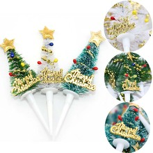 5pcs 9.5cm Merry Christmas Cake Topper Mini Tree Cupcake Toppers New Year Xmas Party Ornaments Kids Birthday Deco