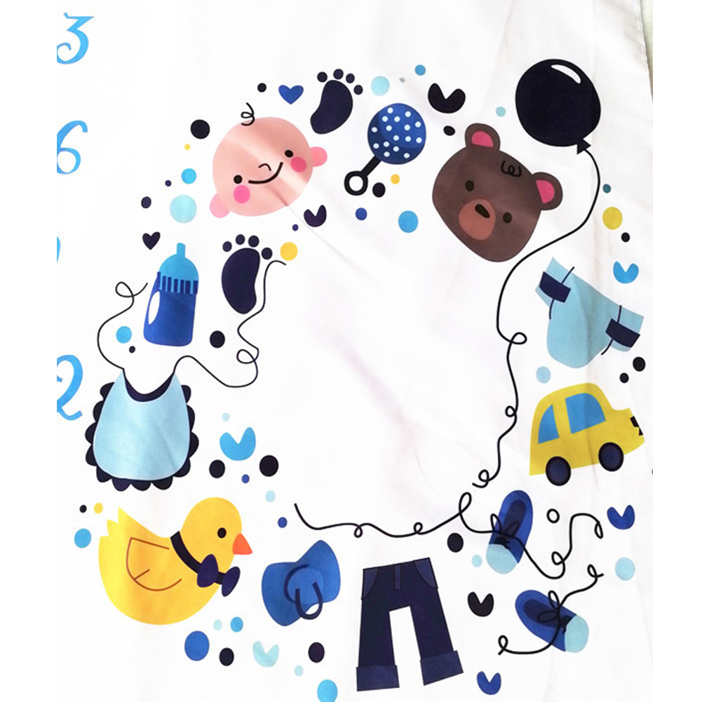 Fashion Backdrop Cloth Monthly Milestone Cute Calender Cartoon Props Newborn Baby Photography Blanket Square Soft Photo Grops