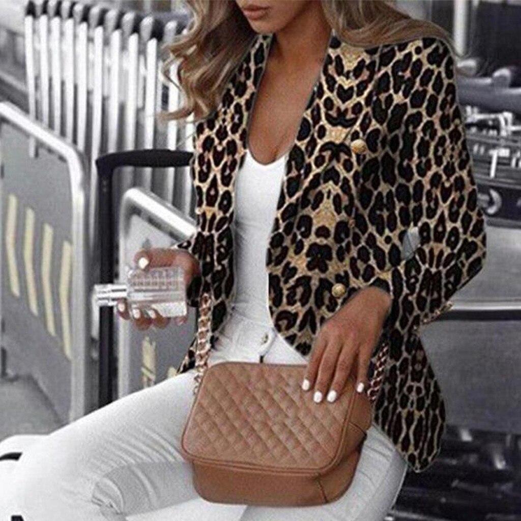 Leopard jacket Women Fashion Leopard Botton Long Sleeve Pocket Notched Tops Casual Coat Office Ladies Wear Chaquetas mujer 2020