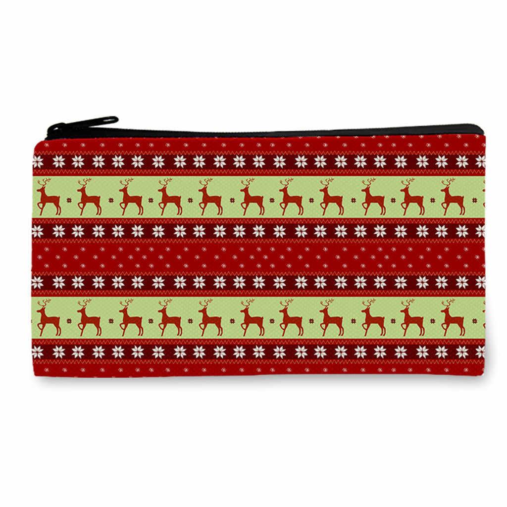 Estudantes de natal bolsa de ombro unisex moda lazer lápis armazenamento maquiagem sacos bolsa moeda zíper aba pochette femme