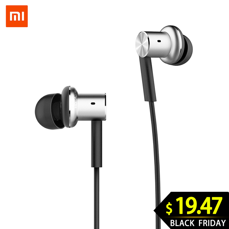 Original Xiaomi Hybrid Earphone Mi In-Ear Earphone Piston <font><b>4</b></font> Dual <font><b>Drivers</b></font> Headset with Mic for Samsung Huawei Android Phones image
