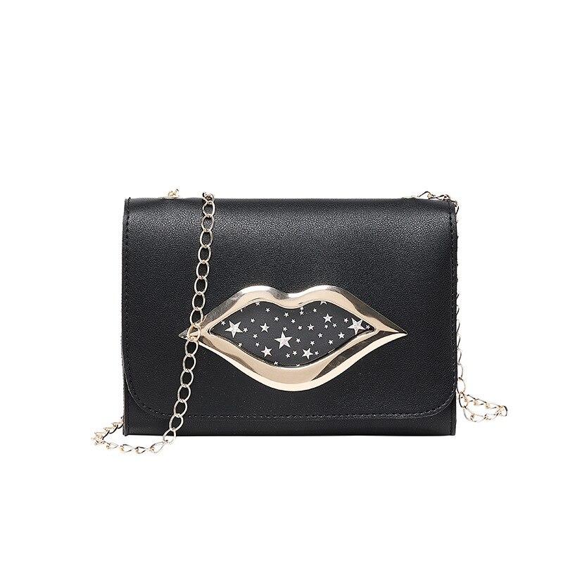Shoulder-Bag Chain-Bags Change-Purse Crossbody Messenger Lips Stars Female Shiny Fashion