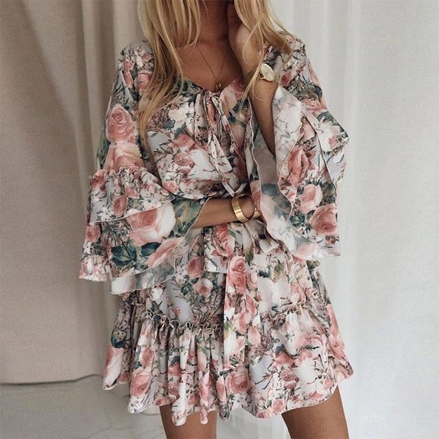 New Boho Print Holiday Mini Dress Women Autumn V Neck Lace up Ruffle Flaral Sleeve Woman Dresses 2020Casual Beach Vestidos Mujer 1