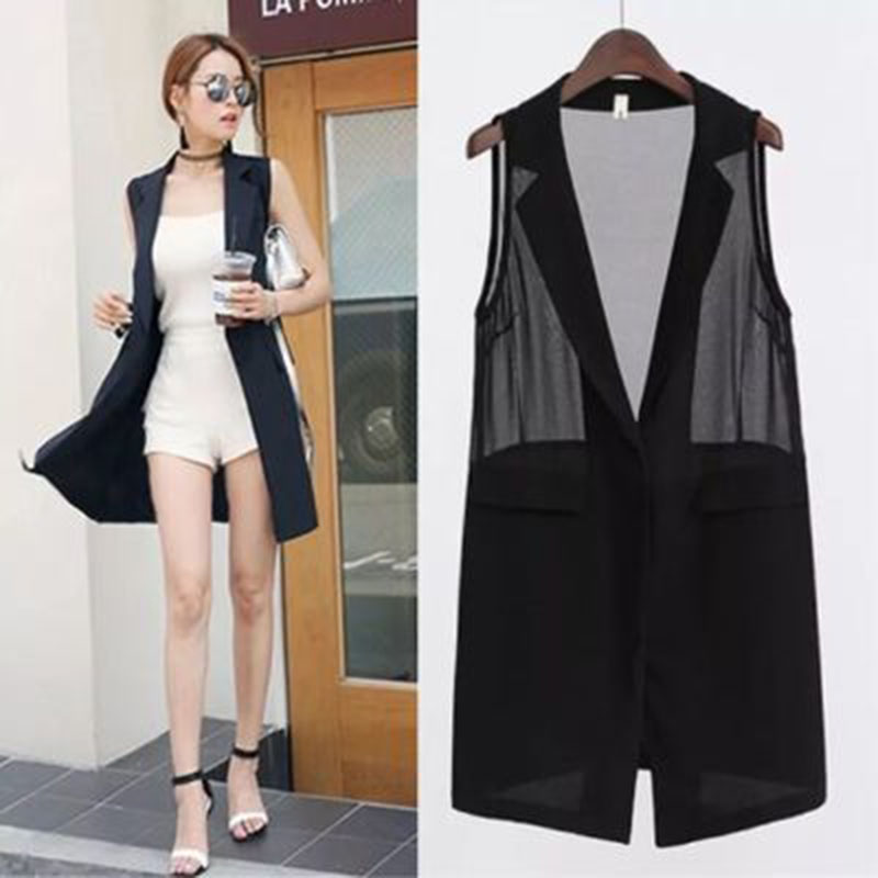 Summer Long Blazer Vest Ladies Office Elegant Sleeveless Solid Color Chiffon Stitching Slim Blazer Vest Plus Size 5XL