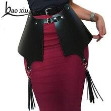 Falda de cintura ancha de cuero para mujer, corsé de borla, correas de vestido de bondage, cinturón de cintura para chica