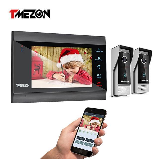 Tmezon sistema de interfone com campainha, 7 Polegada sem fio/wi fi inteligente ip sistema de interfone com 1 monitor de visão noturna + 2 à prova de chuva câmera de telefone da porta