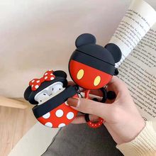 Round Cartoon Case For airpods 1 2 Wireless Bluetooh ear phone Charging airpod Cover Soft Silicone Gel with Ring air pods Case(China)