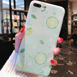 Image 5 - Summer small fresh fruit phone case for iPhone X XS8 7 6 6S PluS  5 5s 5SE silicone 3D embossed soft shell drop protection cover