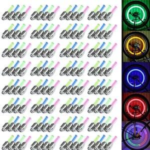 100 шт./лот RGB цветная светодиодная велосипедная клапанная крышка световая вспышка шина для колеса Ночная велосипедная неоновая лампа для ав...