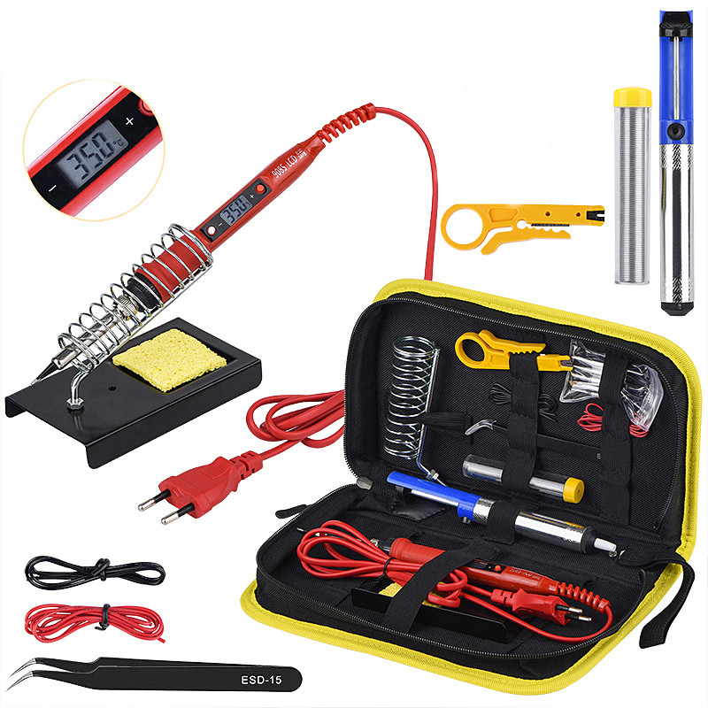 Soldering Iron Kit Adjustable Temperature 220V 80W LCD Solder Welding Tools Ceramic Heater Soldering Tips Desoldering Pump