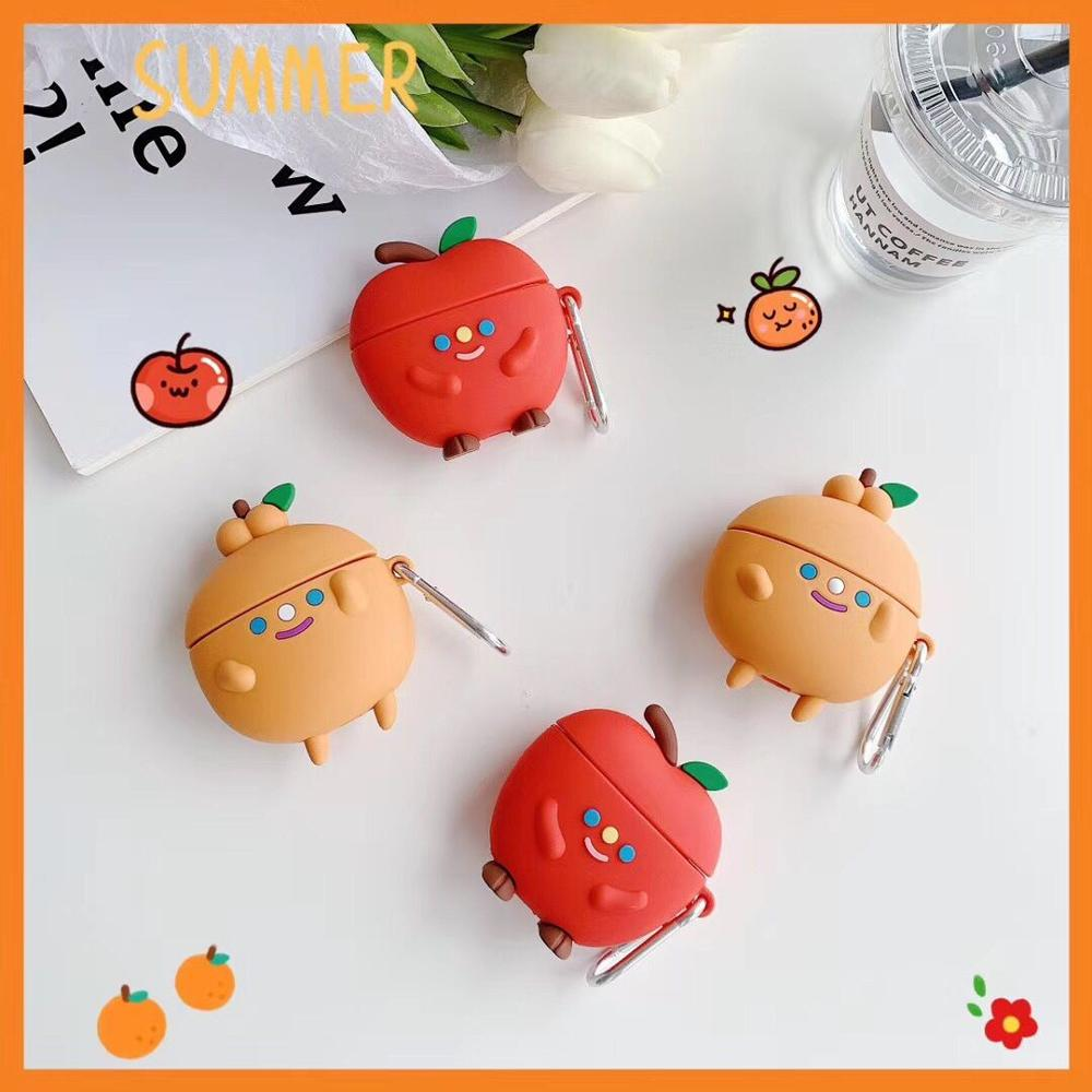 Lovely Cartoon fruit orange Headphone <font><b>Case</b></font> For Apple Wireless <font><b>Bluetooth</b></font> <font><b>Headset</b></font> Airpods 1 2 3 pro Cute Silicone Protection Cover image