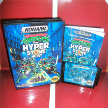 The Turtles Hyper Stone Heist cubierta para USA con caja y Manual para consola MegaDrive, tarjeta MD de 16 bits