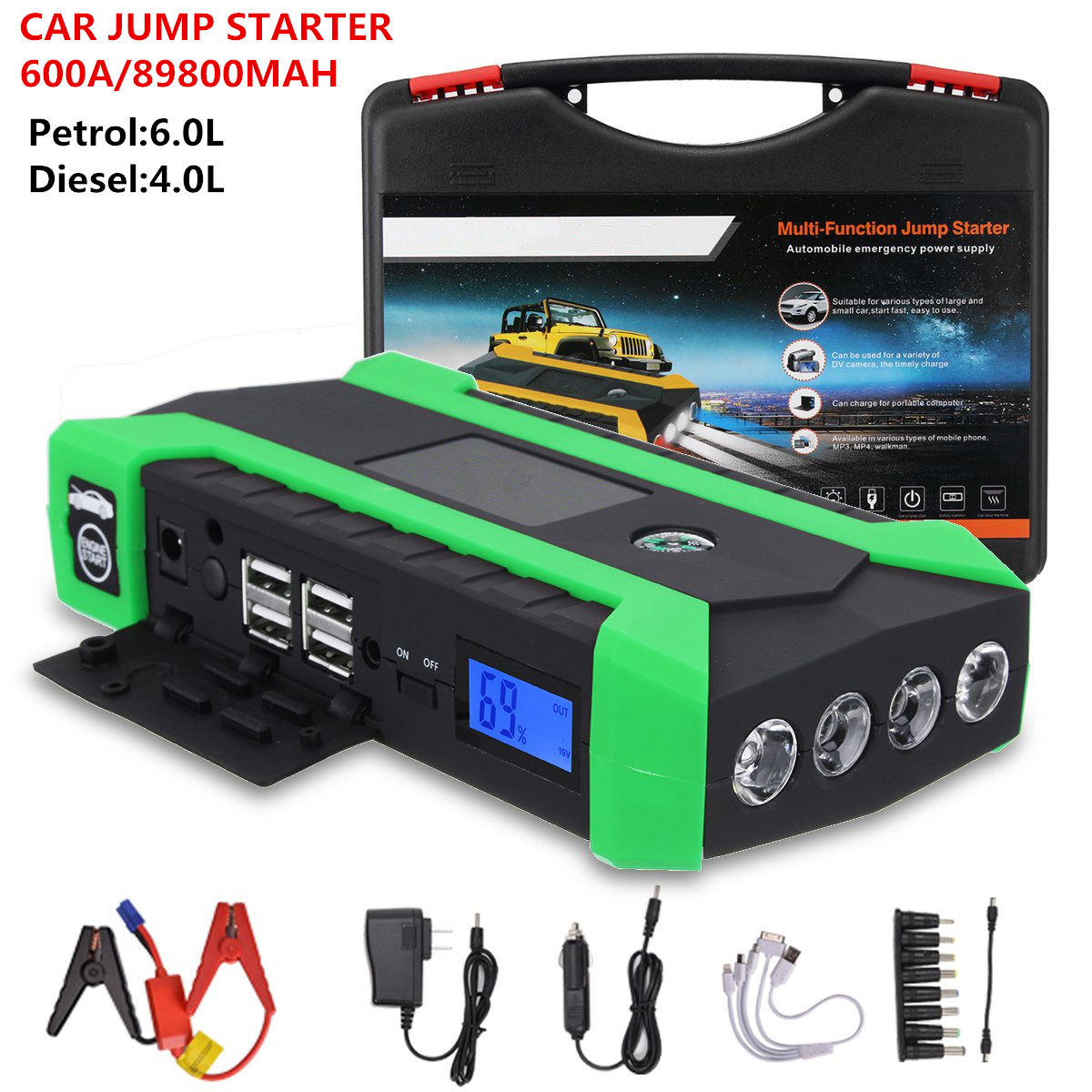 Car-Battery-Booster Power-Bank Jump-Starter Portable Charger Starting-Device 89800mah title=