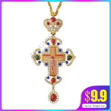 Грудные мышцы крест православный Иисуса подвески-кресты Позолоченные ювелирные изделия стразы цепь религиозных