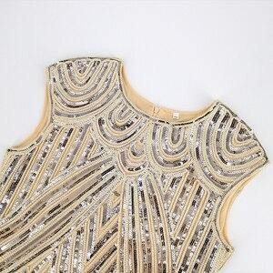Image 3 - 1920s sukienka Flapper sukienka w stylu wielki Gatsby O Neck krótki kimonowy rękaw cekiny Fringe do kolan na imprezę sukienka Vestido De Verano letnie kobiety sukienka