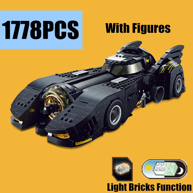 New Justice League Batman UCS Batmobile MOC-1989 Vehicles Car Fit Legoings Technic Building Block Light Bricks Toys Kid Gift
